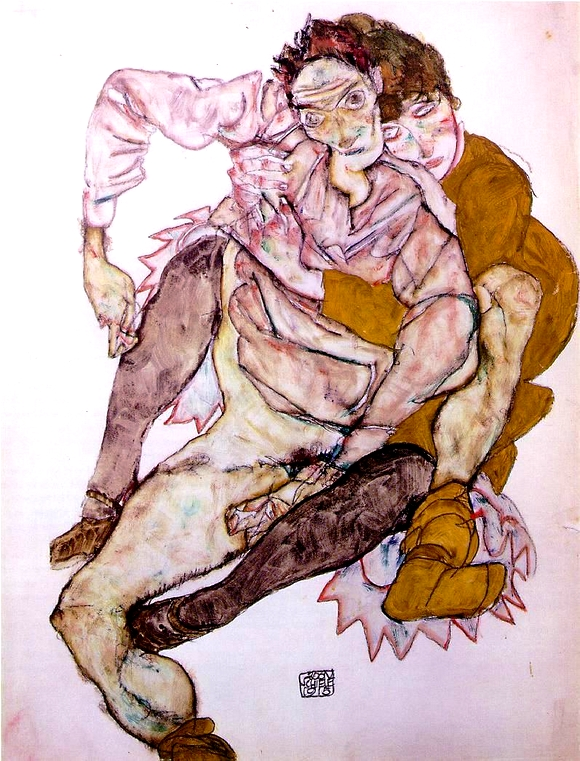 egon_schiele_seated_couple_magna_postcard_1