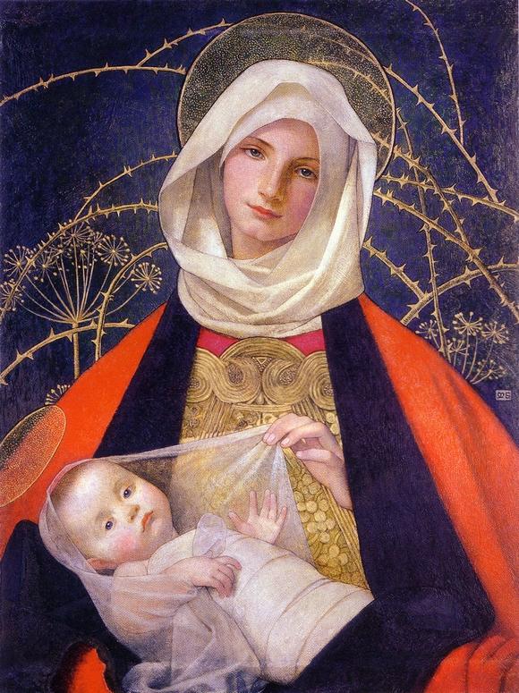 Marianne Stokes. la vierge et l'enfant