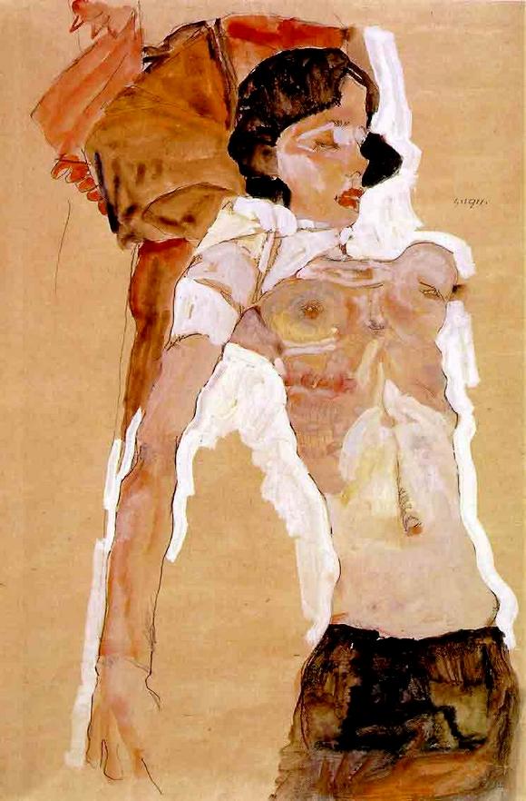 Schiele. Jeune femme.