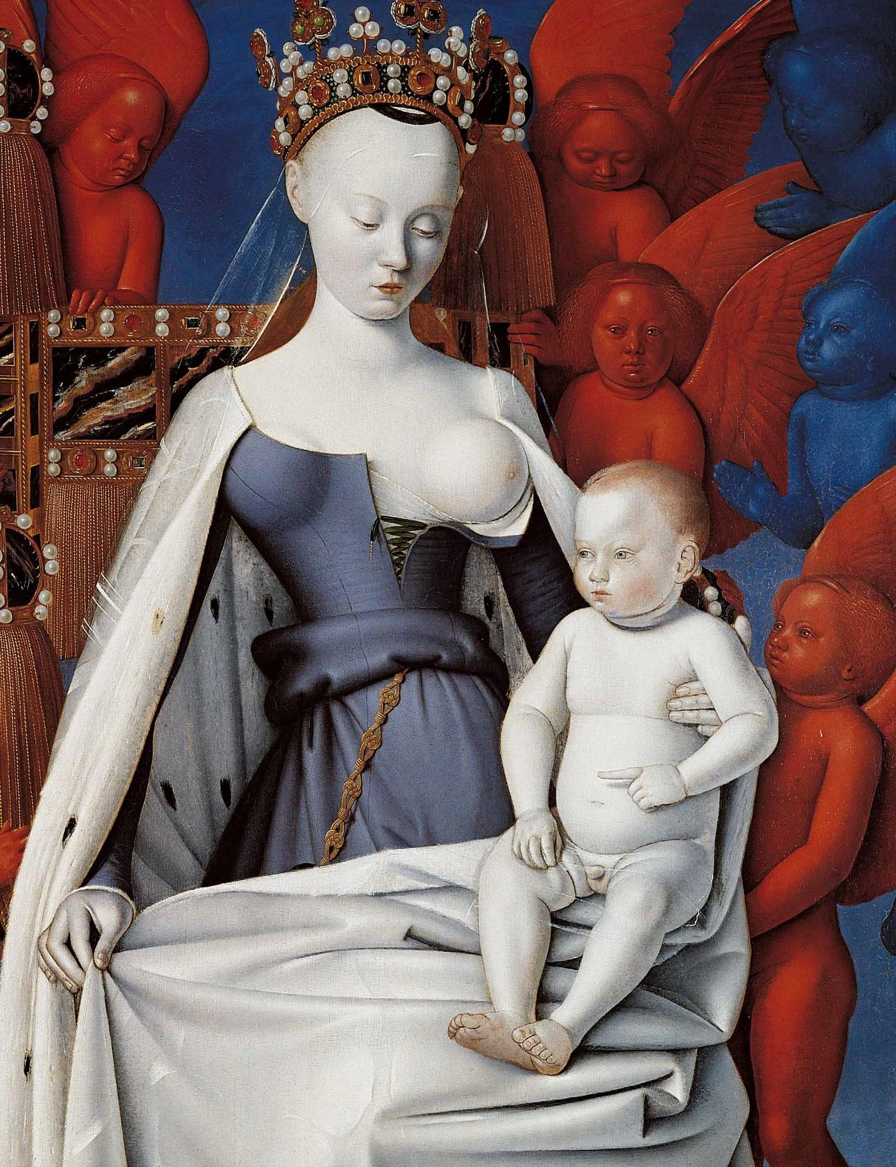 L'œuvre, commandée par Étienne Chevalier à Jean Fouquet, fut exécutée vers 1450.  Ce diptyque est un concentré d'influences flamandes, italiennes et gothiques. Ainsi les détails du trône et de la couronne de la Vierge, le portrait d'Étienne